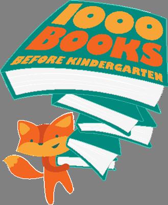 fox holding books 1000 books before Kindergarten