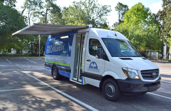 Bookmobile with canopy